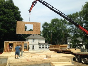 Panelized Home Being Assembled with a Crane